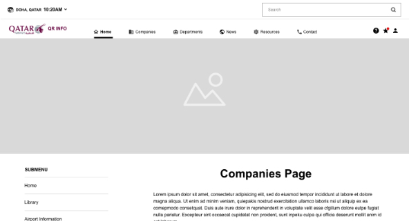 Companies Page Airline Intranet wireframe