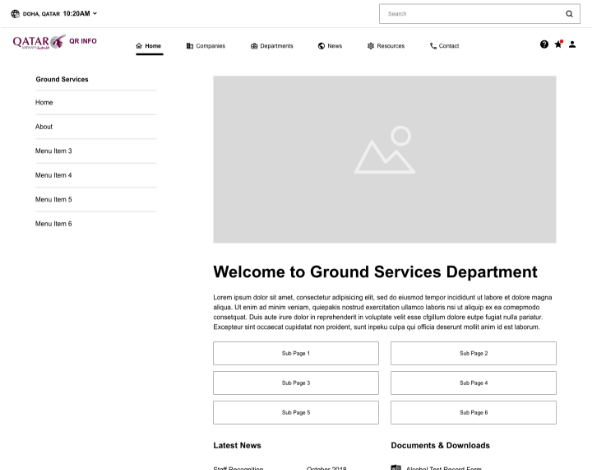 Department Airline Intranet wireframe