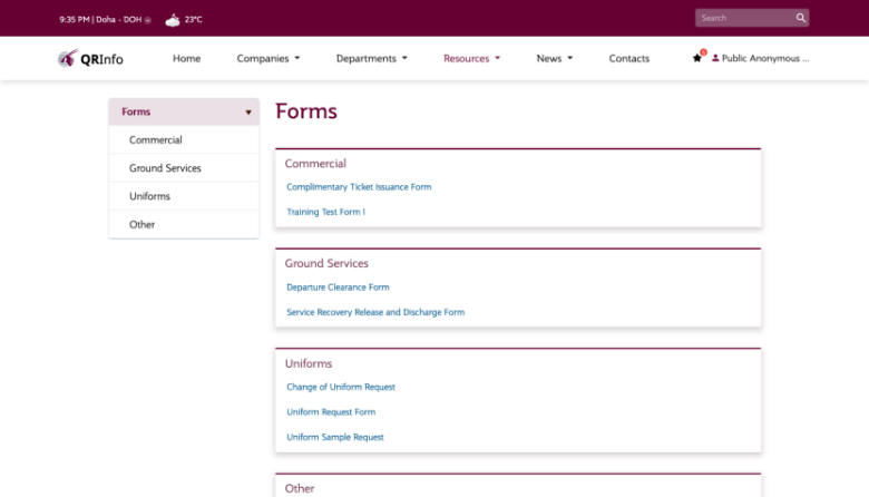 Airline Intranet form page