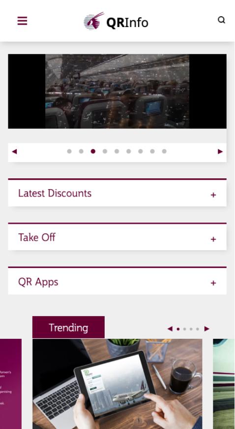 Airline Intranet mobile homepage