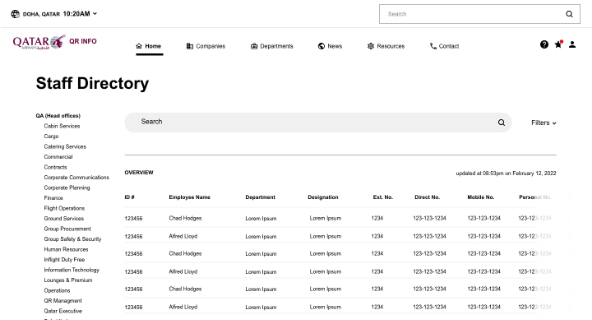 Staff directory Airline Intranet wireframe
