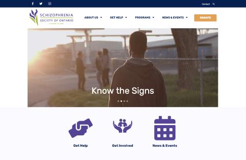 schizophrenia society Website Screenshot