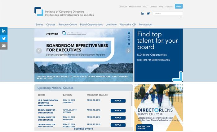 Institute Corporate Directors webpage design